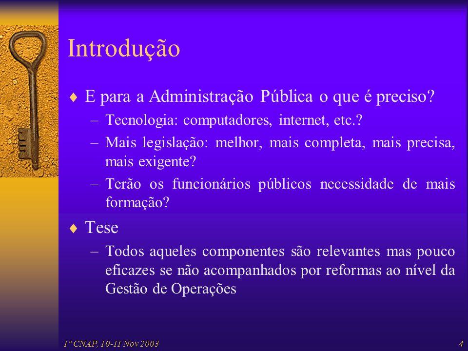 1º CNAP, 10-11 Nov 20034 Introdução E para a Administração Pública o que é preciso? –Tecnologia: computadores, internet, etc.? –Mais legislação: melho