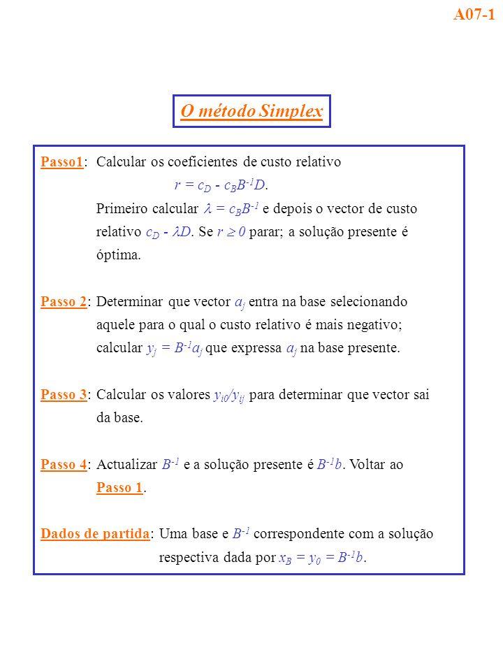 Passo1:Calcular os coeficientes de custo relativo r = c D - c B B -1 D. Primeiro calcular = c B B -1 e depois o vector de custo relativo c D - D. Se r