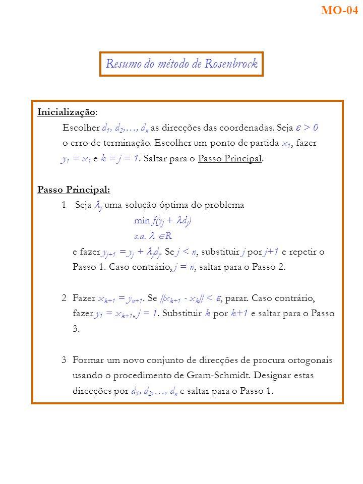 Inicialização: Escolher d 1, d 2,…, d n as direcções das coordenadas.