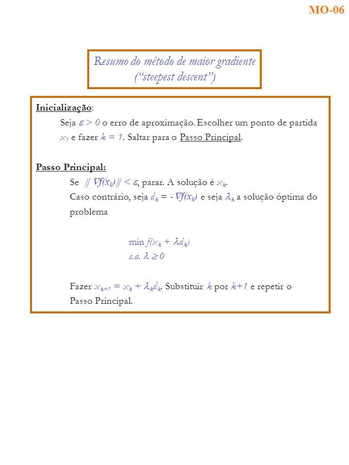 Inicialização: Seja > 0 o erro de aproximação. Escolher um ponto de partida x 1 e fazer k = 1.