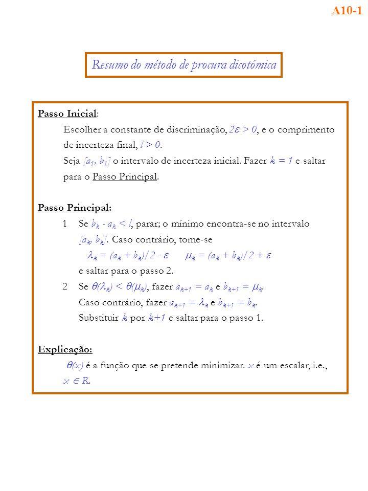 Passo Inicial: Escolher a constante de discriminação, 2 > 0, e o comprimento de incerteza final, l > 0.