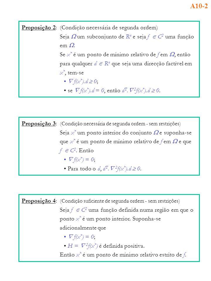Proposição 2:(Condição necessária de segunda ordem) Seja um subconjunto de R n e seja f C 2 uma função em. Se x * é um ponto de mínimo relativo de f e