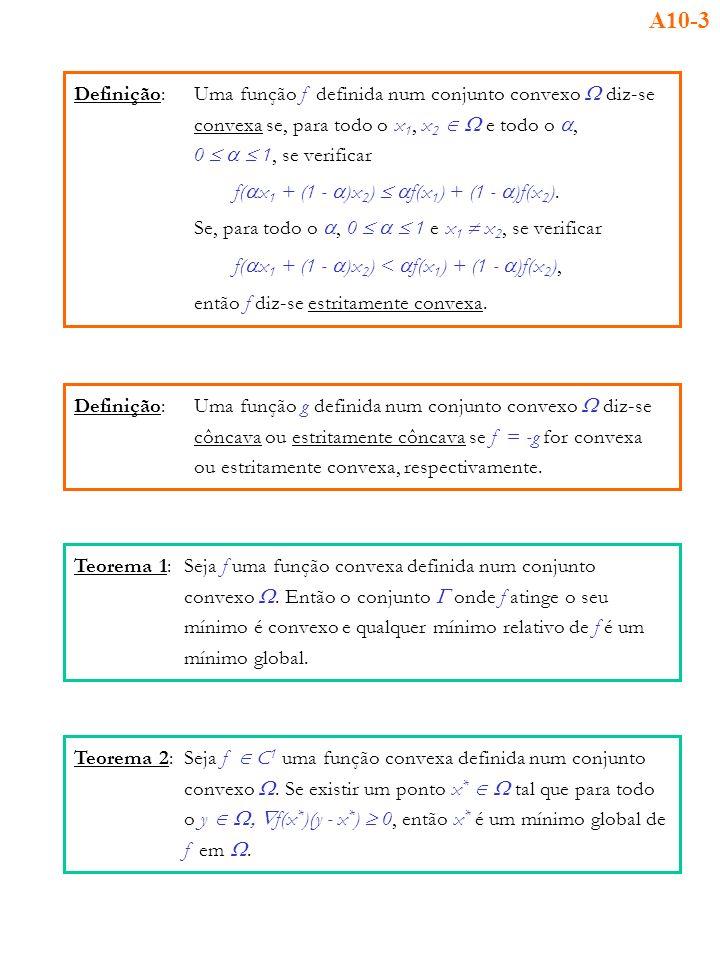 Definição:Uma função f definida num conjunto convexo diz-se convexa se, para todo o x 1, x 2 e todo o, 0 1, se verificar f( x 1 + (1 - )x 2 ) f(x 1 )