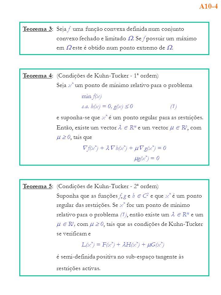 Teorema 3:Seja f uma função convexa definida num conjunto convexo fechado e limitado. Se f possuir um máximo em este é obtido num ponto extremo de. Te