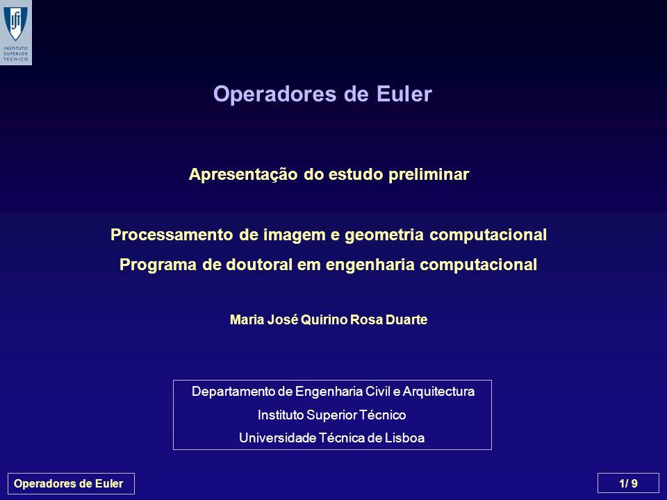 Operadores de Euler 2/ 9 Fórmulas de Euler e de Euler-Poincaré Operadores de Euler Exemplo Pesquisa Bibliográfica Conteúdo