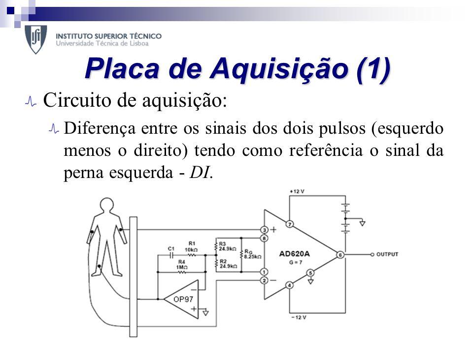Placa de Aquisição (1) Circuito de aquisição: Diferença entre os sinais dos dois pulsos (esquerdo menos o direito) tendo como referência o sinal da pe