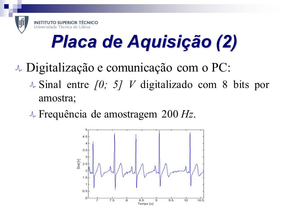 Placa de Aquisição (2) Digitalização e comunicação com o PC: Sinal entre [0; 5] V digitalizado com 8 bits por amostra; Frequência de amostragem 200 Hz