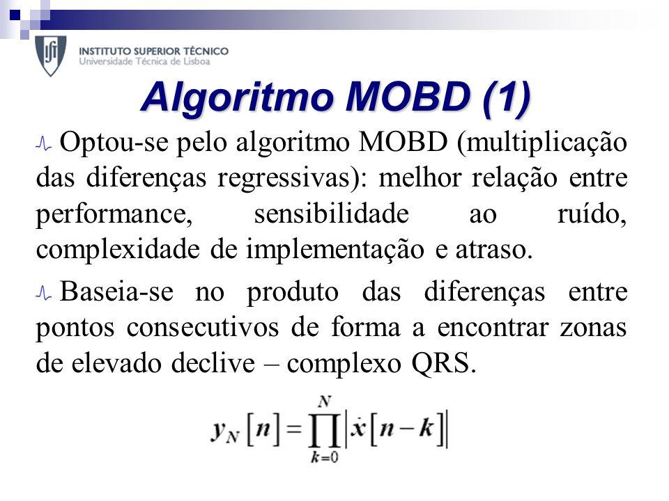 Algoritmo MOBD (1) Optou-se pelo algoritmo MOBD (multiplicação das diferenças regressivas): melhor relação entre performance, sensibilidade ao ruído,