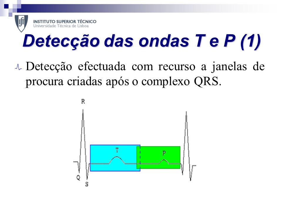 Detecção das ondas T e P (1) Detecção efectuada com recurso a janelas de procura criadas após o complexo QRS. Para minimizar o efeito do ruído o sinal