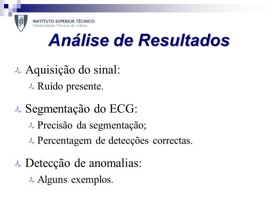 Análise de Resultados Aquisição do sinal: Ruído presente. Segmentação do ECG: Precisão da segmentação; Percentagem de detecções correctas. Detecção de
