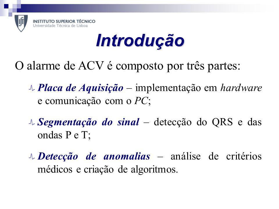 Introdução O alarme de ACV é composto por três partes: Placa de Aquisição – implementação em hardware e comunicação com o PC; Segmentação do sinal – d