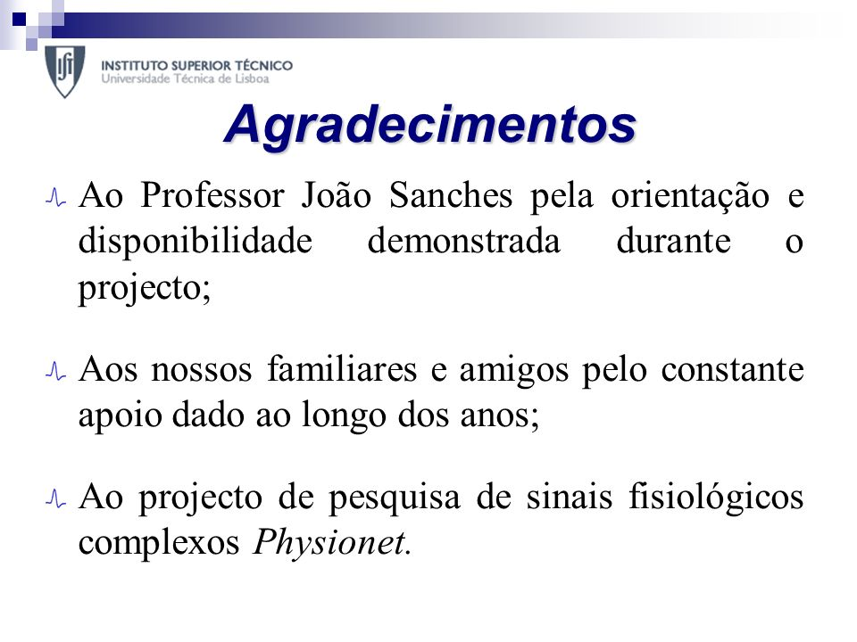 Agradecimentos Ao Professor João Sanches pela orientação e disponibilidade demonstrada durante o projecto; Aos nossos familiares e amigos pelo constan