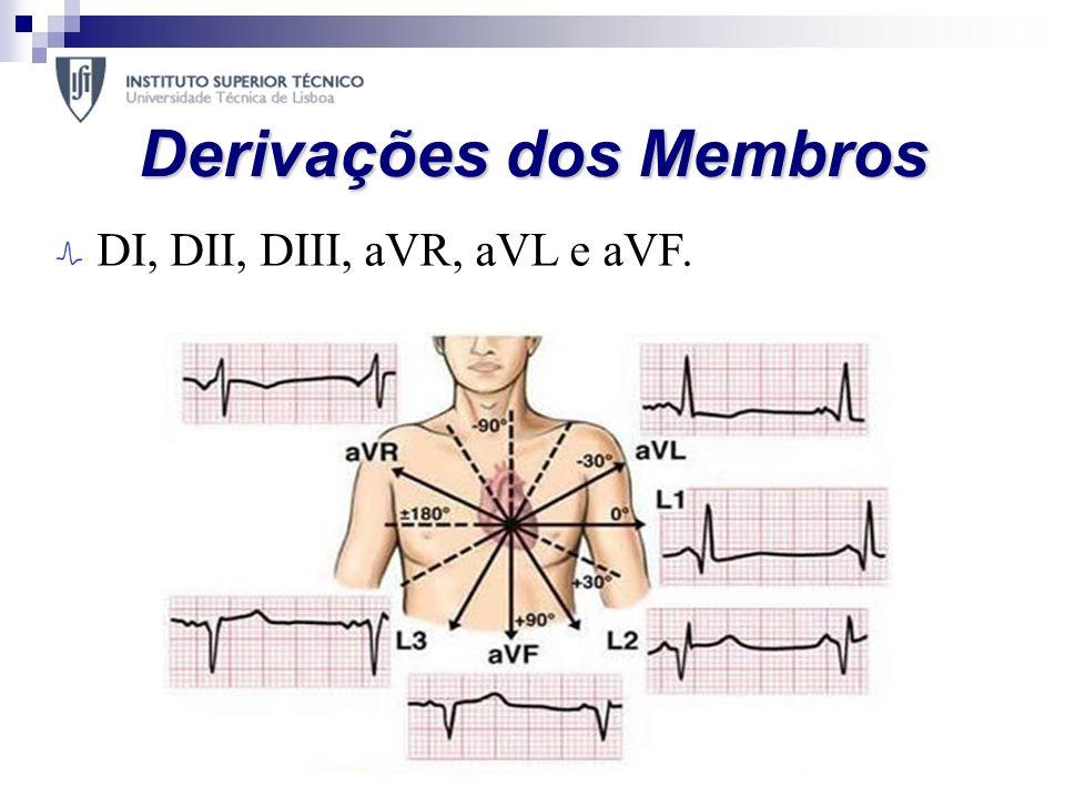 Derivações dos Membros DI, DII, DIII, aVR, aVL e aVF.