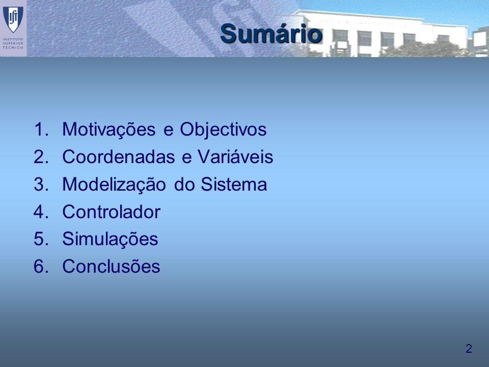 2 Sumário 1.Motivações e Objectivos 2.Coordenadas e Variáveis 3.Modelização do Sistema 4.Controlador 5.Simulações 6.Conclusões