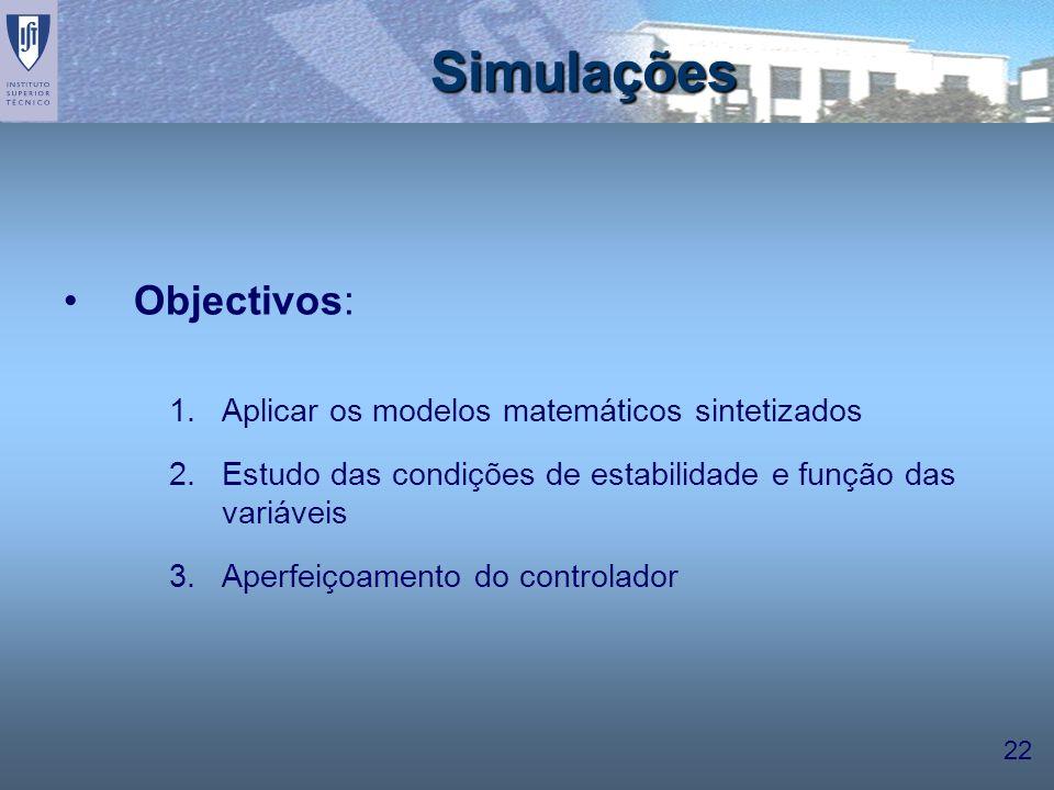 22 Simulações Objectivos: 1.Aplicar os modelos matemáticos sintetizados 2.Estudo das condições de estabilidade e função das variáveis 3.Aperfeiçoament