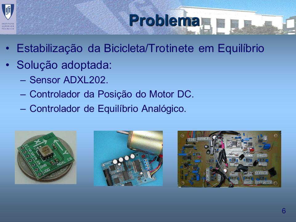 6 Problema Estabilização da Bicicleta/Trotinete em Equilíbrio Solução adoptada: –Sensor ADXL202. –Controlador da Posição do Motor DC. –Controlador de