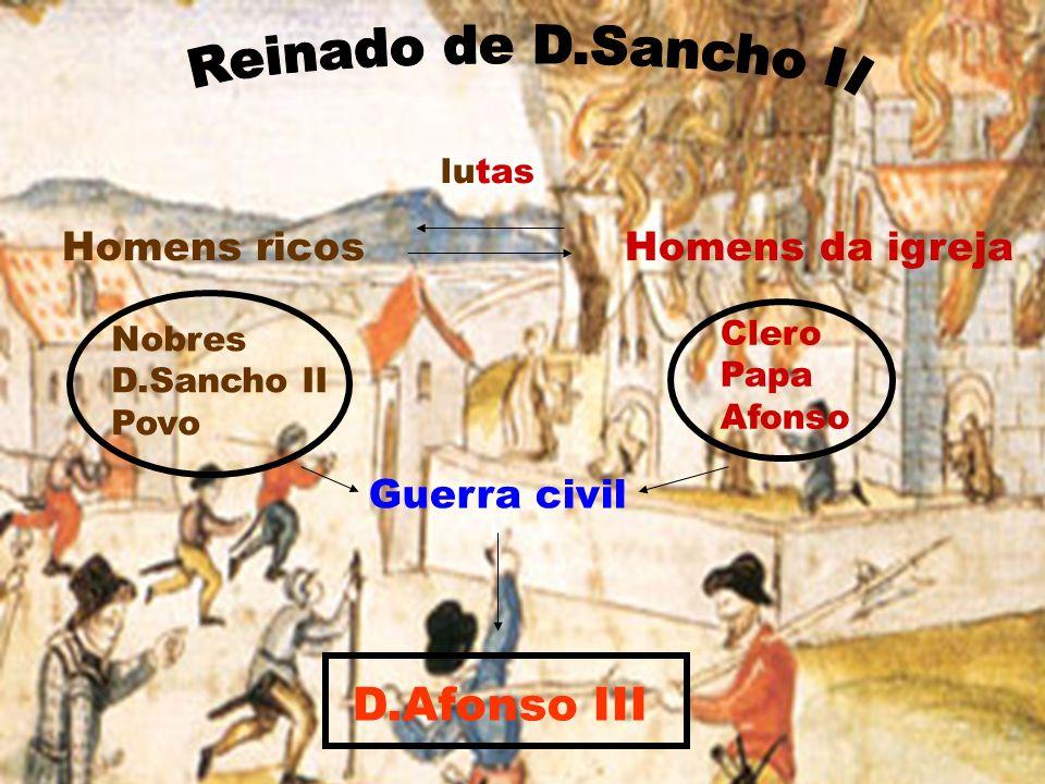 Homens ricos Homens da igreja Nobres D.Sancho II Povo Clero Papa Afonso lutas Guerra civil D.Afonso III