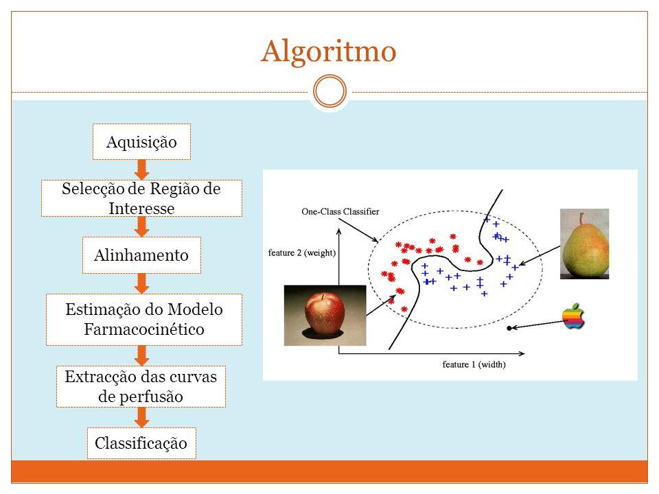 Algoritmo Aquisição Selecção de Região de Interesse Estimação do Modelo Farmacocinético Extracção das curvas de perfusão Alinhamento Classificação
