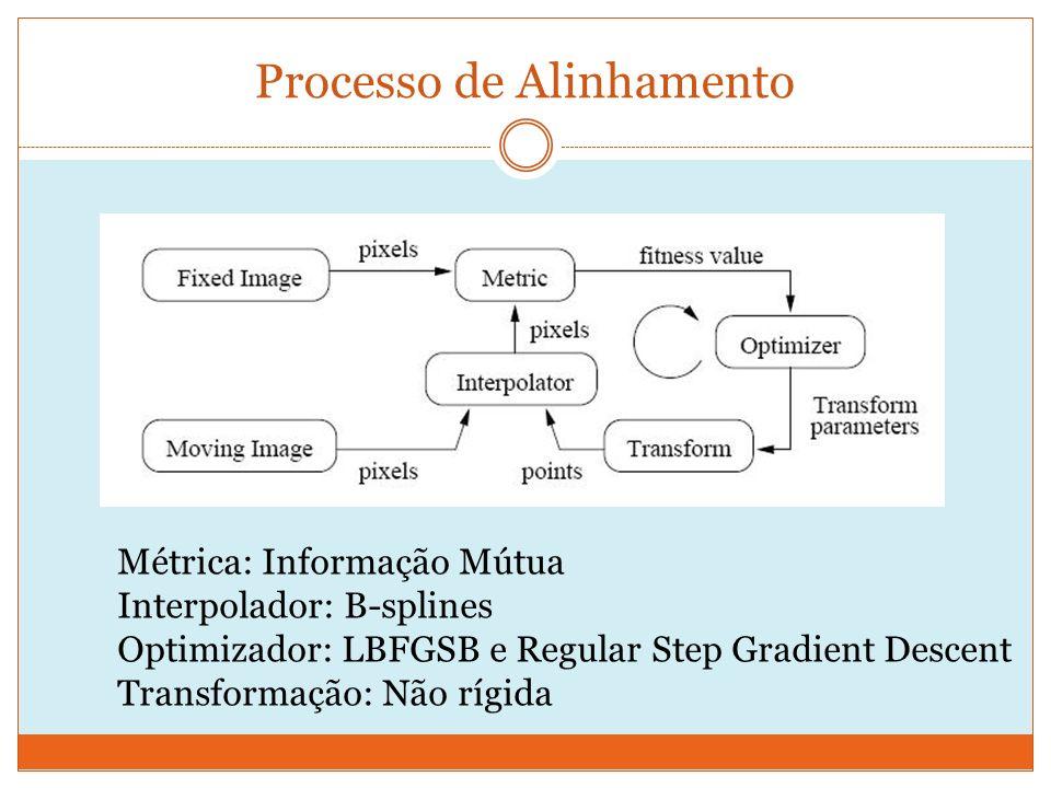 Processo de Alinhamento Métrica: Informação Mútua Interpolador: B-splines Optimizador: LBFGSB e Regular Step Gradient Descent Transformação: Não rígida