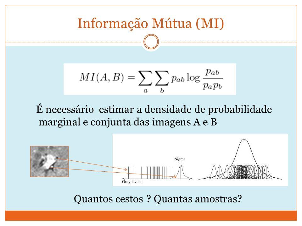 Informação Mútua (MI) É necessário estimar a densidade de probabilidade marginal e conjunta das imagens A e B Quantos cestos .