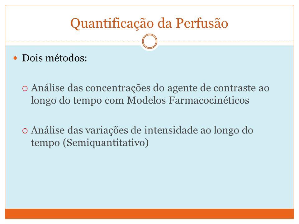 Quantificação da Perfusão Dois métodos: Análise das concentrações do agente de contraste ao longo do tempo com Modelos Farmacocinéticos Análise das variações de intensidade ao longo do tempo (Semiquantitativo)