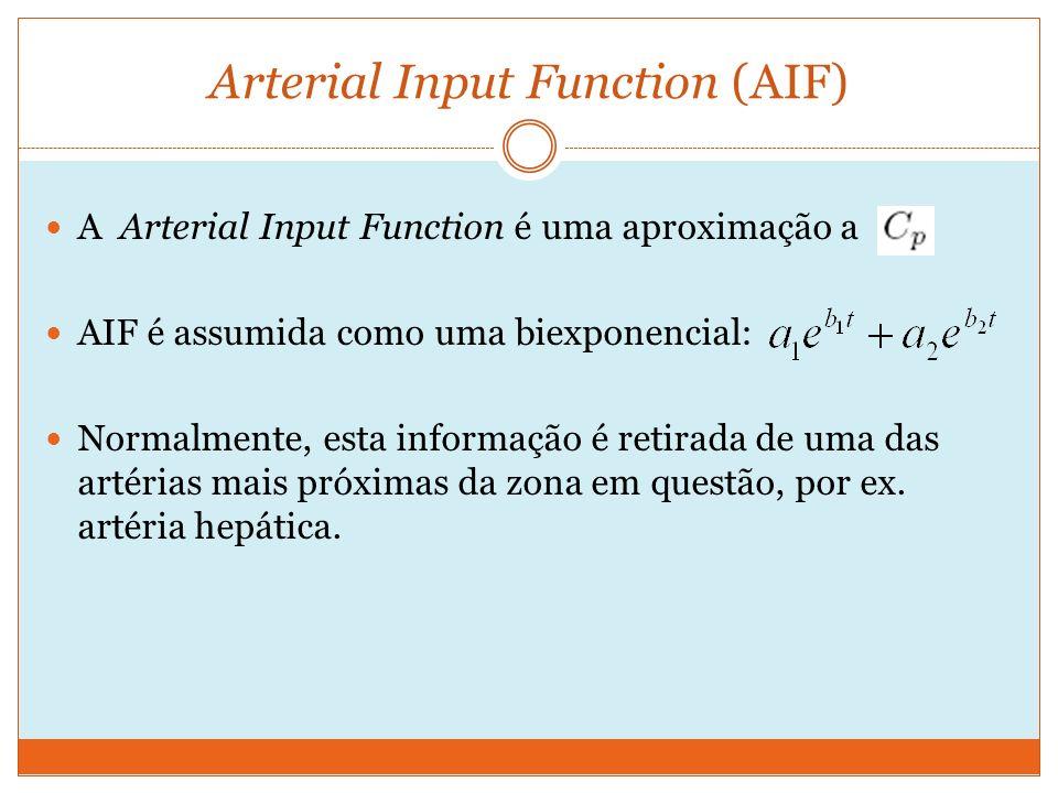 Arterial Input Function (AIF) A Arterial Input Function é uma aproximação a AIF é assumida como uma biexponencial: Normalmente, esta informação é retirada de uma das artérias mais próximas da zona em questão, por ex.