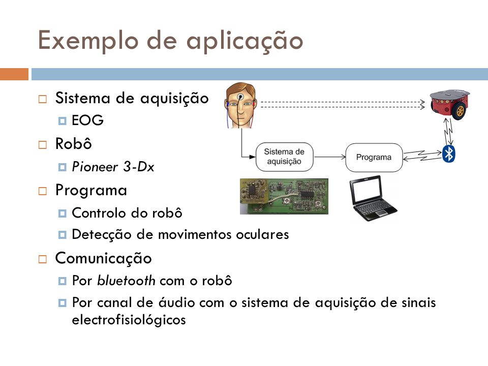 Exemplo de aplicação Sistema de aquisição EOG Robô Pioneer 3-Dx Programa Controlo do robô Detecção de movimentos oculares Comunicação Por bluetooth co
