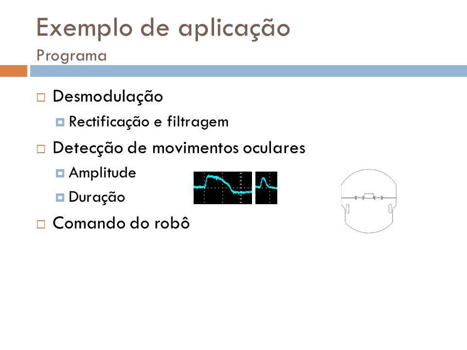 Desmodulação Rectificação e filtragem Detecção de movimentos oculares Amplitude Duração Comando do robô Exemplo de aplicação Programa