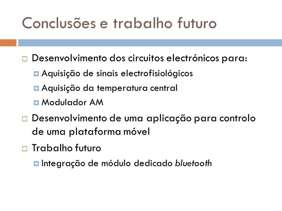 Conclusões e trabalho futuro Desenvolvimento dos circuitos electrónicos para: Aquisição de sinais electrofisiológicos Aquisição da temperatura central