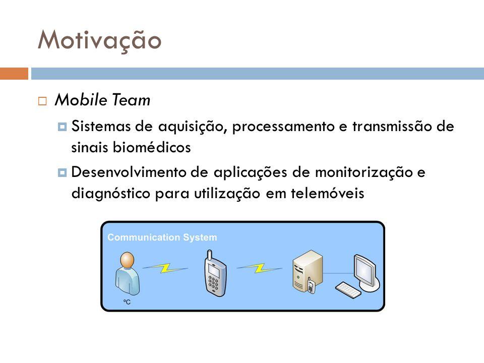 Motivação Mobile Team Sistemas de aquisição, processamento e transmissão de sinais biomédicos Desenvolvimento de aplicações de monitorização e diagnós