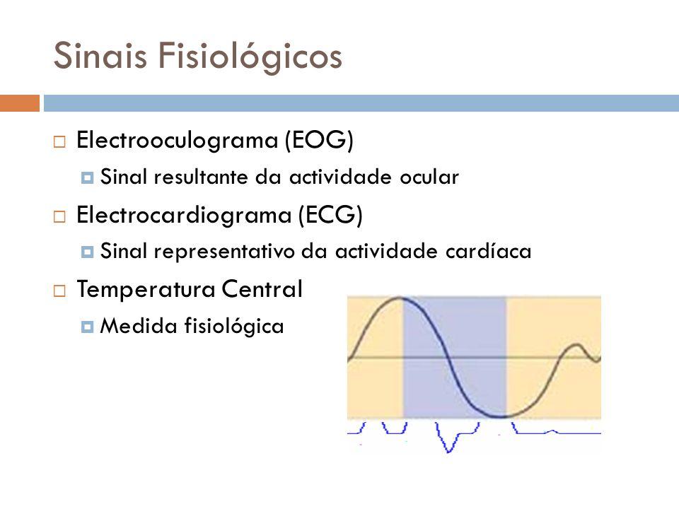 Características eléctricas do EOG e do ECG Reduzida amplitude (<5mV) Baixa frequência (<100Hz) Características da Temperatura Central Variação diária bastante lenta Temperatura normal de 37ºC ± 1ºC