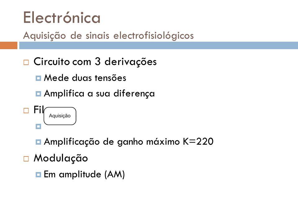 Electrónica Aquisição de sinais electrofisiológicos Circuito com 3 derivações Mede duas tensões Amplifica a sua diferença Filtração e Amplificação Fil