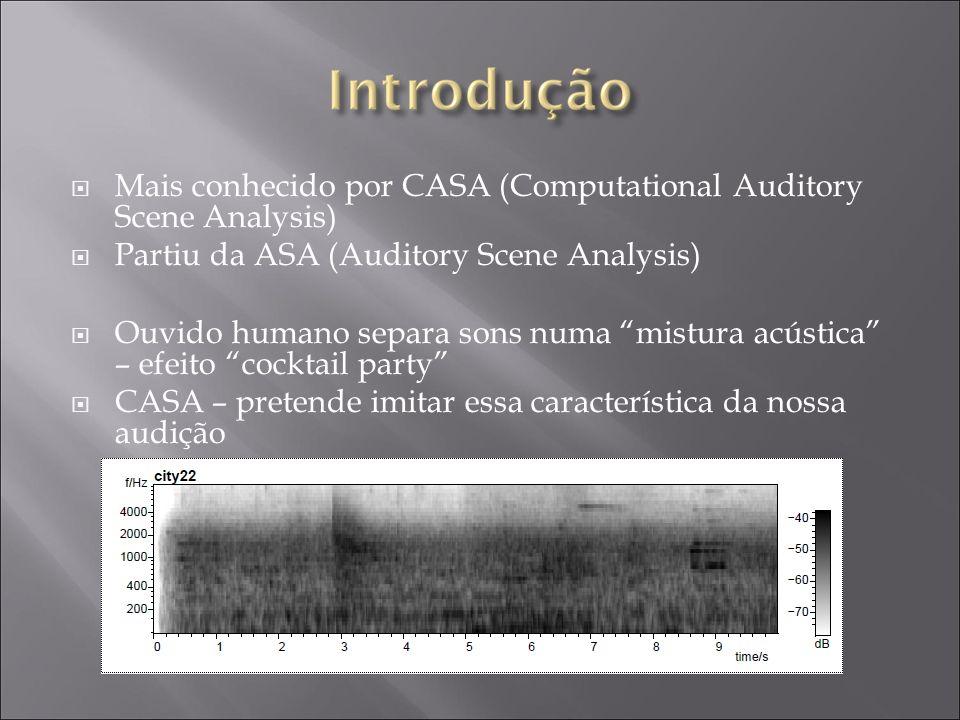 Mais conhecido por CASA (Computational Auditory Scene Analysis) Partiu da ASA (Auditory Scene Analysis) Ouvido humano separa sons numa mistura acústica – efeito cocktail party CASA – pretende imitar essa característica da nossa audição