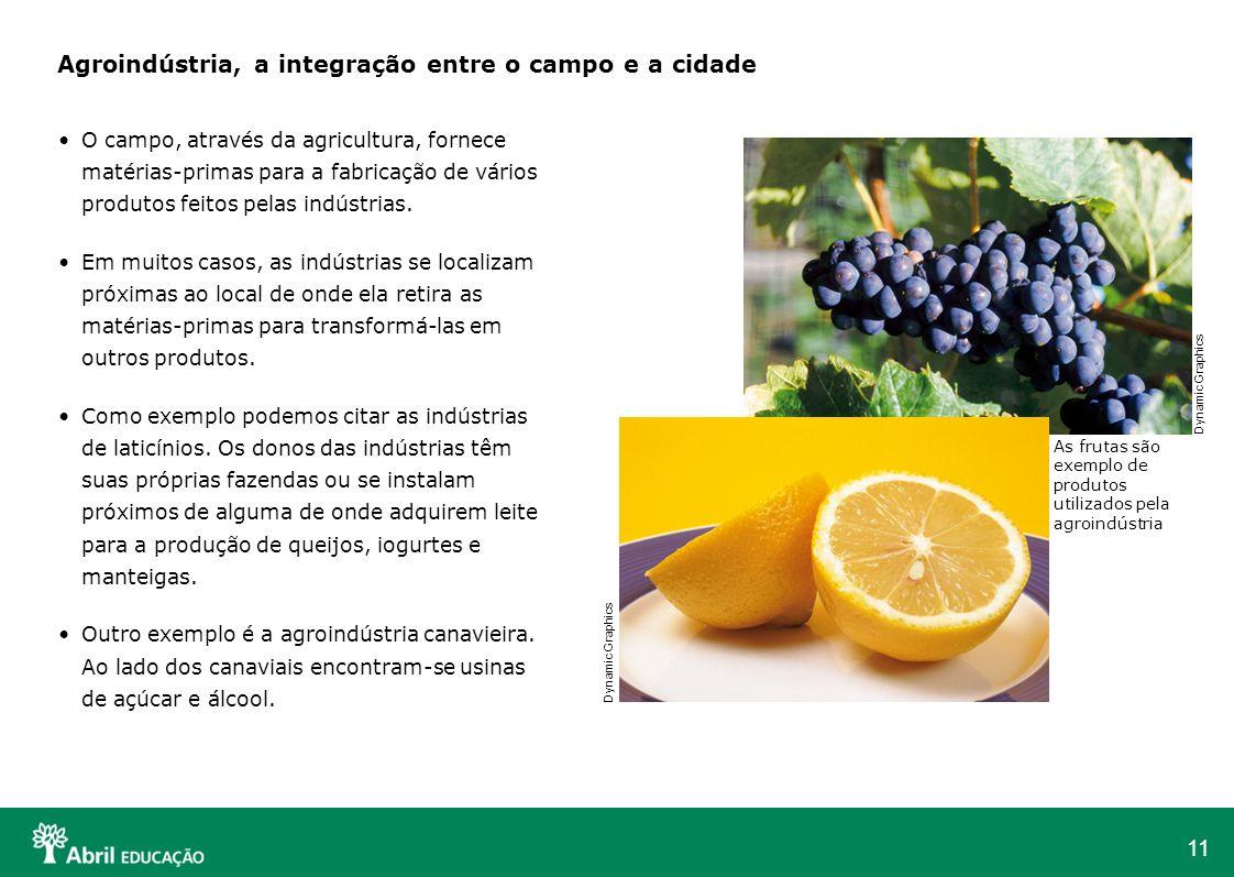11 Agroindústria, a integração entre o campo e a cidade O campo, através da agricultura, fornece matérias-primas para a fabricação de vários produtos