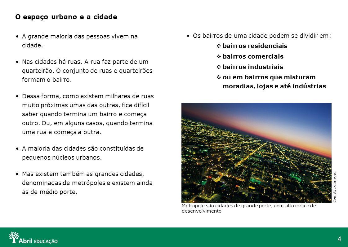 4 O espaço urbano e a cidade A grande maioria das pessoas vivem na cidade. Nas cidades há ruas. A rua faz parte de um quarteirão. O conjunto de ruas e