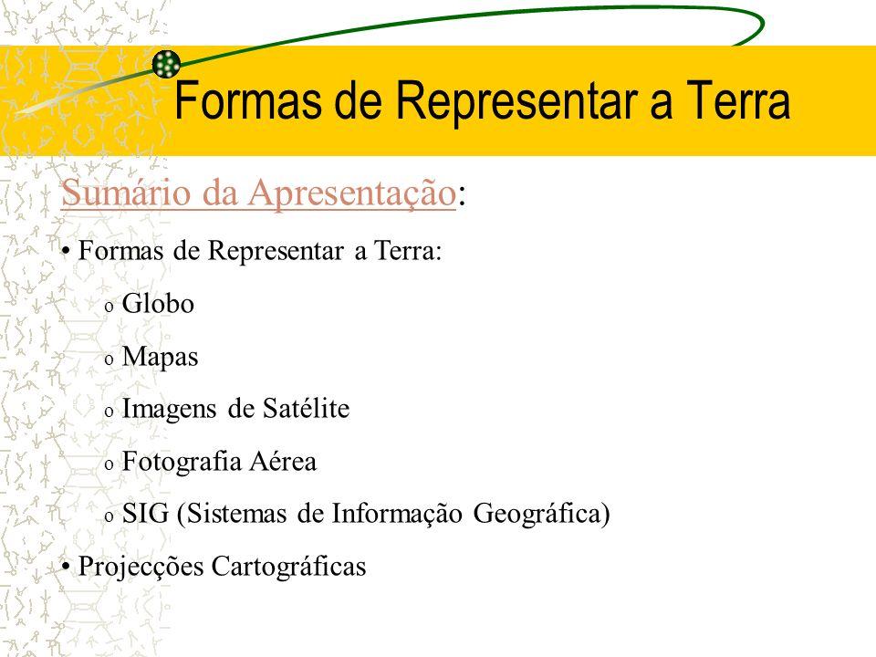 Formas de Representar a Terra Sumário da ApresentaçãoSumário da Apresentação: Formas de Representar a Terra: o Globo o Mapas o Imagens de Satélite o Fotografia Aérea o SIG (Sistemas de Informação Geográfica) Projecções Cartográficas