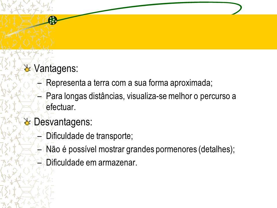 Vantagens: –Representa a terra com a sua forma aproximada; –Para longas distâncias, visualiza-se melhor o percurso a efectuar.