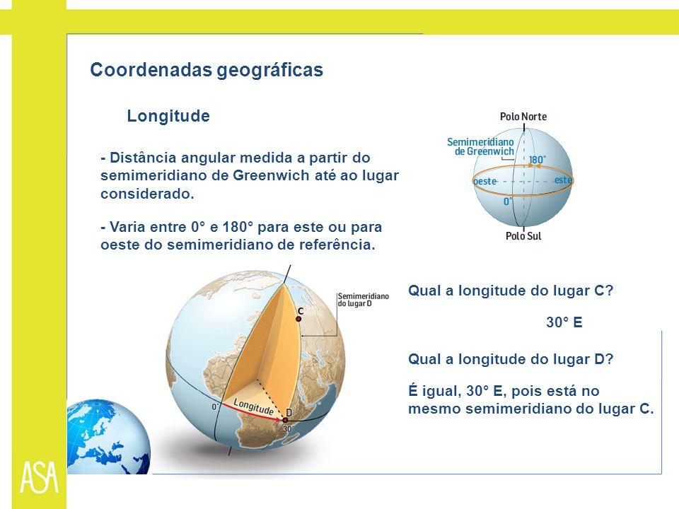 Coordenadas geográficas Longitude - Distância angular medida a partir do semimeridiano de Greenwich até ao lugar considerado. - Varia entre 0° e 180°