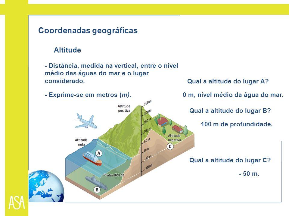 Coordenadas geográficas Altitude - Distância, medida na vertical, entre o nível médio das águas do mar e o lugar considerado. - Exprime-se em metros (