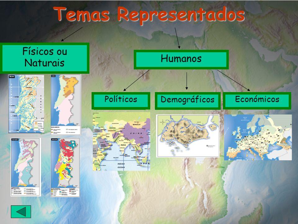 Temas Representados Físicos ou Naturais Políticos Humanos Demográficos PolíticosEconómicos
