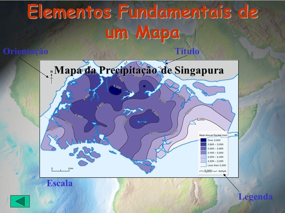 Elementos Fundamentais de um Mapa Título Legenda Orientação Mapa da Precipitação de Singapura Escala