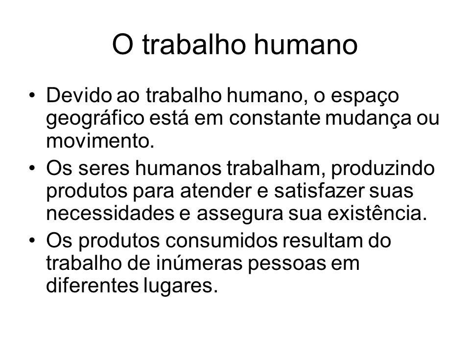 O trabalho humano Devido ao trabalho humano, o espaço geográfico está em constante mudança ou movimento. Os seres humanos trabalham, produzindo produt