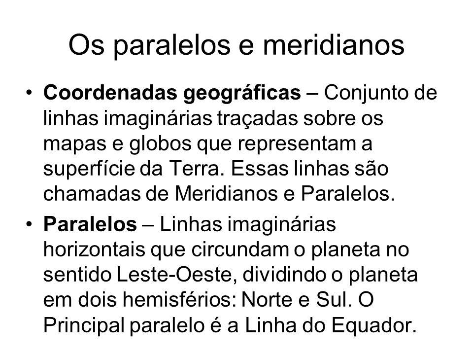 Os paralelos e meridianos Coordenadas geográficas – Conjunto de linhas imaginárias traçadas sobre os mapas e globos que representam a superfície da Te