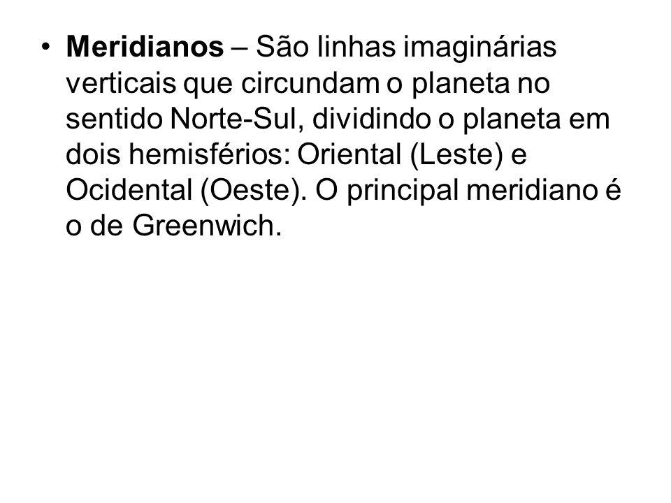 Meridianos – São linhas imaginárias verticais que circundam o planeta no sentido Norte-Sul, dividindo o planeta em dois hemisférios: Oriental (Leste)