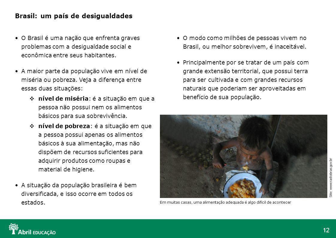 12 O modo como milhões de pessoas vivem no Brasil, ou melhor sobrevivem, é inaceitável. Principalmente por se tratar de um país com grande extensão te