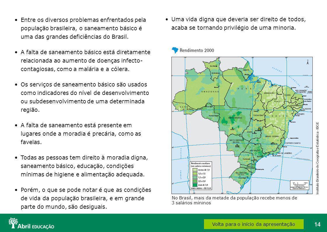14 Volta para o início da apresentação Entre os diversos problemas enfrentados pela população brasileira, o saneamento básico é uma das grandes defici