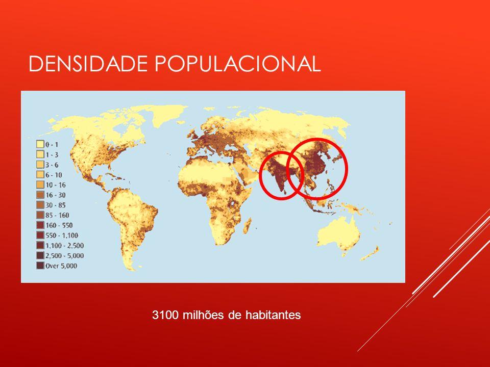 DENSIDADE POPULACIONAL 3100 milhões de habitantes