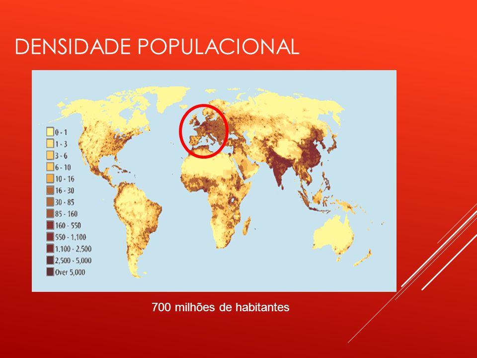 DENSIDADE POPULACIONAL 700 milhões de habitantes