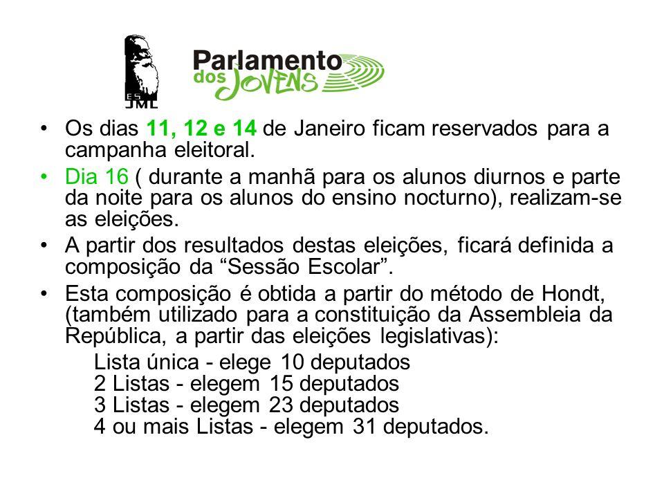 Os dias 11, 12 e 14 de Janeiro ficam reservados para a campanha eleitoral. Dia 16 ( durante a manhã para os alunos diurnos e parte da noite para os al