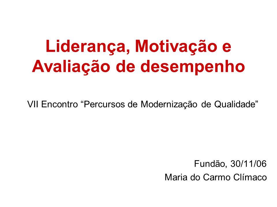 Liderança, Motivação e Avaliação de desempenho VII Encontro Percursos de Modernização de Qualidade Fundão, 30/11/06 Maria do Carmo Clímaco